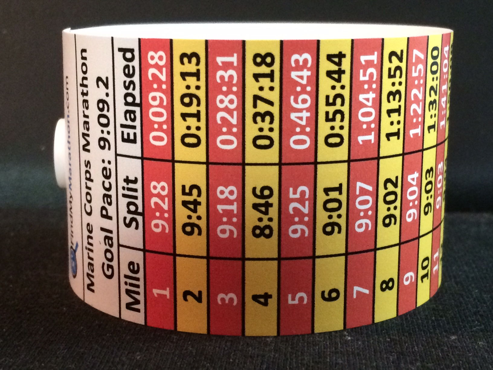 Chicago Marathon Pace Band Colors